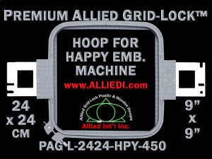 24 x 24 cm (9 x 9 inch) Square Premium Allied Grid-Lock Plastic Embroidery Hoop - Happy 450