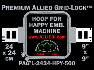 24 x 24 cm (9 x 9 inch) Square Premium Allied Grid-Lock Plastic Embroidery Hoop - Happy 500