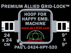 24 x 24 cm (9 x 9 inch) Square Premium Allied Grid-Lock Plastic Embroidery Hoop - Happy 520