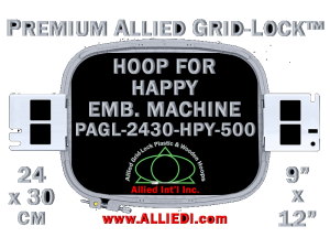 24 x 30 cm (9 x 12 inch) Rectangular Premium Allied Grid-Lock Plastic Embroidery Hoop - Happy 500