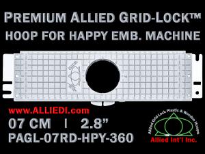 7 cm (2.8 inch) Round Premium Allied Grid-Lock Plastic Embroidery Hoop - Happy 360