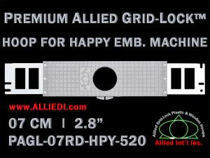 7 cm (2.8 inch) Round Premium Allied Grid-Lock Plastic Embroidery Hoop - Happy 520