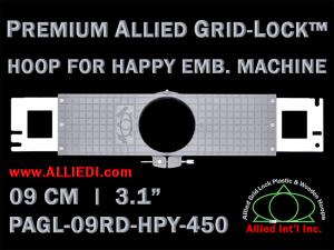 9 cm (3.5 inch) Round Premium Allied Grid-Lock Plastic Embroidery Hoop - Happy 450