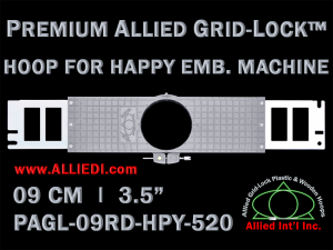9 cm (3.5 inch) Round Premium Allied Grid-Lock Plastic Embroidery Hoop - Happy 520