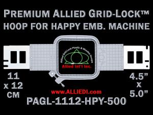 11 x 12 cm (4.5 x 5 inch) Rectangular Premium Allied Grid-Lock Plastic Embroidery Hoop - Happy 500