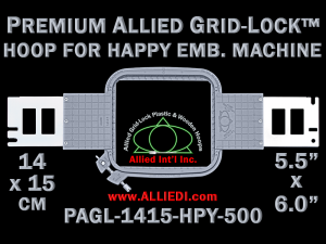 14 x 15 cm (5.5 x 6 inch) Rectangular Premium Allied Grid-Lock Plastic Embroidery Hoop - Happy 500