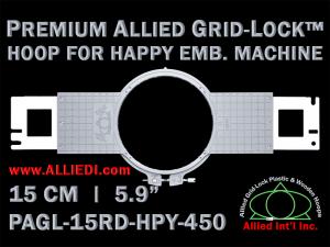 15 cm (5.9 inch) Round Premium Allied Grid-Lock Plastic Embroidery Hoop - Happy 450