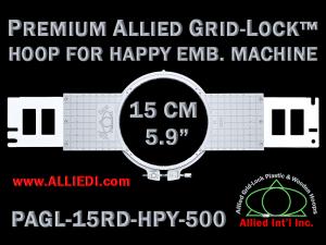15 cm (5.9 inch) Round Premium Allied Grid-Lock Plastic Embroidery Hoop - Happy 500