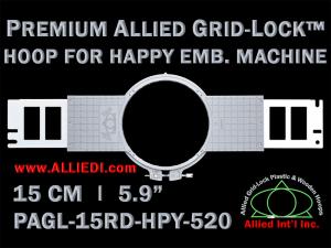 15 cm (5.9 inch) Round Premium Allied Grid-Lock Plastic Embroidery Hoop - Happy 520