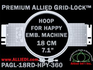 18 cm (7.1 inch) Round Premium Allied Grid-Lock Plastic Embroidery Hoop - Happy 360
