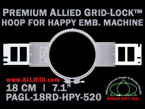 18 cm (7.1 inch) Round Premium Allied Grid-Lock Plastic Embroidery Hoop - Happy 520