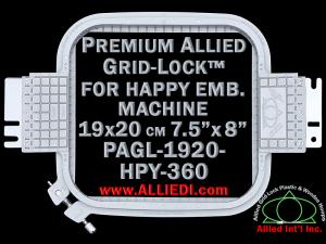 19 x 20 cm (7.5 x 8 inch) Rectangular Premium Allied Grid-Lock Plastic Embroidery Hoop - Happy 360