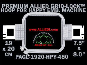 19 x 20 cm (7.5 x 8 inch) Rectangular Premium Allied Grid-Lock Plastic Embroidery Hoop - Happy 450