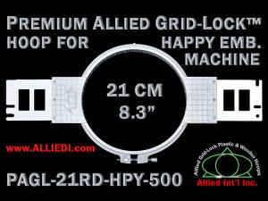 21 cm (8.3 inch) Round Premium Allied Grid-Lock Plastic Embroidery Hoop - Happy 500