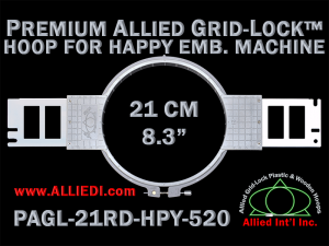 21 cm (8.3 inch) Round Premium Allied Grid-Lock Plastic Embroidery Hoop - Happy 520