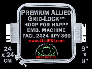 24 x 24 cm (9 x 9 inch) Square Premium Allied Grid-Lock Plastic Embroidery Hoop - Happy 360