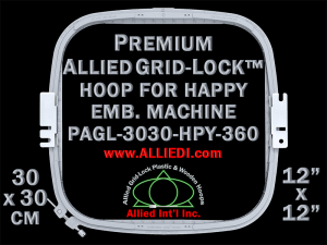 30 x 30 cm (12 x 12 inch) Square Premium Allied Grid-Lock Plastic Embroidery Hoop - Happy 360