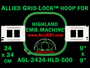 24 x 24 cm (9 x 9 inch) Square Allied Grid-Lock Plastic Embroidery Hoop - Highland 500