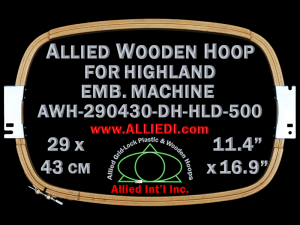29.0 x 43.0 cm (11.4 x 16.9 inch) Rectangular Allied Wooden Embroidery Hoop, Double Height - Highland 500