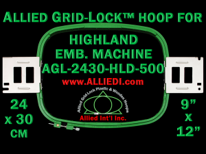 24 x 30 cm (9 x 12 inch) Rectangular Allied Grid-Lock Plastic Embroidery Hoop - Highland 500