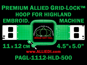 11 x 12 cm (4.5 x 5 inch) Rectangular Premium Allied Grid-Lock Plastic Embroidery Hoop - Highland 500