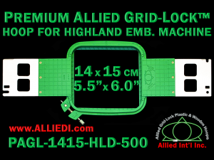 14 x 15 cm (5.5 x 6 inch) Rectangular Premium Allied Grid-Lock Plastic Embroidery Hoop - Highland 500