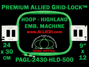 24 x 30 cm (9 x 12 inch) Rectangular Premium Allied Grid-Lock Plastic Embroidery Hoop - Highland 500