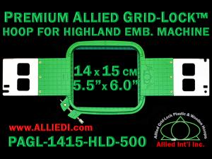 14 x 15 cm (5.5 x 6 inch) Rectangular Premium Allied Grid-Lock Plastic Embroidery Hoop - Highland 500