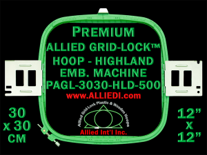 30 x 30 cm (12 x 12 inch) Square Premium Allied Grid-Lock Plastic Embroidery Hoop - Highland 500