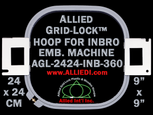 24 x 24 cm (9 x 9 inch) Square Allied Grid-Lock Plastic Embroidery Hoop - Inbro 360