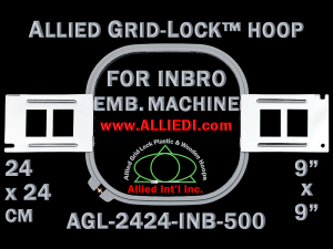 24 x 24 cm (9 x 9 inch) Square Allied Grid-Lock Plastic Embroidery Hoop - Inbro 500