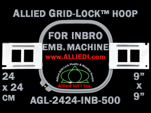 24 x 24 cm (9 x 9 inch) Square Allied Grid-Lock Plastic Embroidery Hoop - Inbro 500