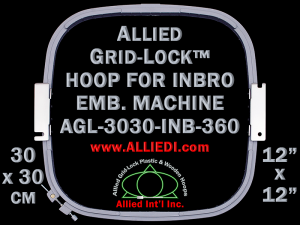 30 x 30 cm (12 x 12 inch) Square Allied Grid-Lock Plastic Embroidery Hoop - Inbro 360 - Allied May Substitute this with Premium Version Hoop