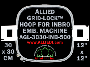 30 x 30 cm (12 x 12 inch) Square Allied Grid-Lock Plastic Embroidery Hoop - Inbro 500