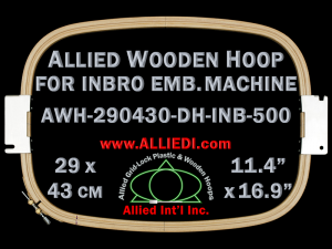 29.0 x 43.0 cm (11.4 x 16.9 inch) Rectangular Allied Wooden Embroidery Hoop, Double Height - Inbro 500