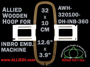 32.0 x 10.0 cm (12.6 x 3.9 inch) Rectangular Allied Wooden Embroidery Hoop, Double Height - Inbro 360