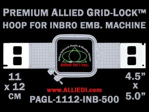 11 x 12 cm (4.5 x 5 inch) Rectangular Premium Allied Grid-Lock Plastic Embroidery Hoop - Inbro 500