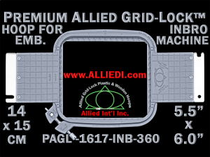 14 x 15 cm (5.5 x 6 inch) Rectangular Premium Allied Grid-Lock Plastic Embroidery Hoop - Inbro 360