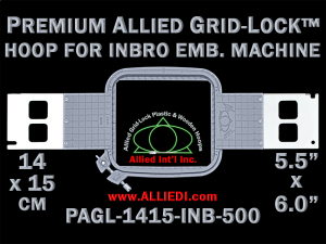 14 x 15 cm (5.5 x 6 inch) Rectangular Premium Allied Grid-Lock Plastic Embroidery Hoop - Inbro 500
