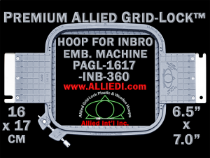 16 x 17 cm (6.5 x 7 inch) Rectangular Premium Allied Grid-Lock Plastic Embroidery Hoop - Inbro 360
