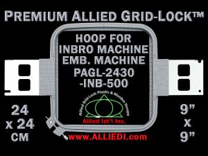24 x 24 cm (9 x 9 inch) Square Premium Allied Grid-Lock Plastic Embroidery Hoop - Inbro 500