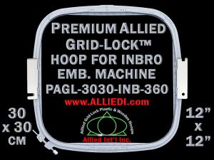 30 x 30 cm (12 x 12 inch) Square Premium Allied Grid-Lock Plastic Embroidery Hoop - Inbro 360