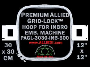 30 x 30 cm (12 x 12 inch) Square Premium Allied Grid-Lock Plastic Embroidery Hoop - Inbro 500