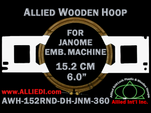 15.2 cm (6.0 inch) Round Allied Wooden Embroidery Hoop, Double Height - Janome 360
