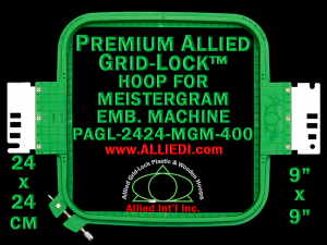 24 x 24 cm (9 x 9 inch) Square Premium Allied Grid-Lock Plastic Embroidery Hoop - Meistergram 400