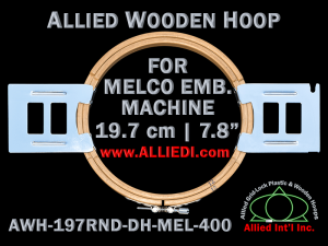 Melco 19.7 cm (7.8 inch) Round Allied Wooden Embroidery Hoop, Double Height - For 400 mm Sew Field / Arm Spacing