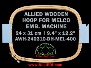 Melco 24.0 x 31.0 cm (9.4 x 12.2 inch) Rectangular Allied Wooden Embroidery Hoop, Double Height - For 400 mm Sew Field / Arm Spacing