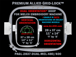 Melco 28 x 37 cm (11 x 14 inch) Rectangular Premium Allied Grid-Lock DUAL ORIENTATION Embroidery Hoop for 480 mm & 400 mm Sew Fields / Arm Spacings