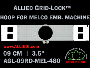 9 cm (3.5 inch) Round Allied Grid-Lock Plastic Embroidery Hoop - Melco 480
