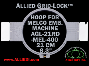 21 cm (8.3 inch) Round Allied Grid-Lock Plastic Embroidery Hoop - Melco 400